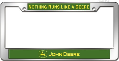 John Deere License Plate Frames - Chroma 6418 John Deere Auto Tag Frame - Domed Metal/Chrome