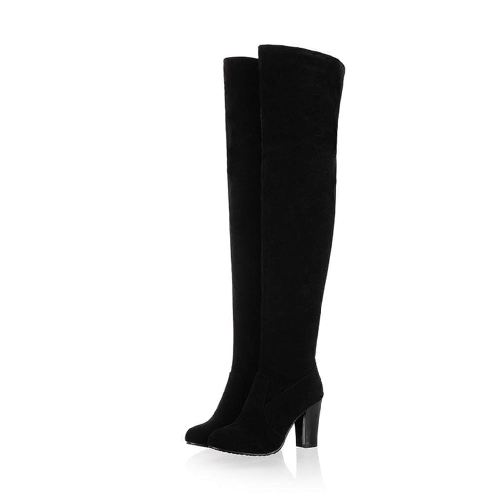 Women's Black Faux Suede Over the Knee Round Toe Block High Heel Pirate Boots - DeluxeAdultCostumes.com