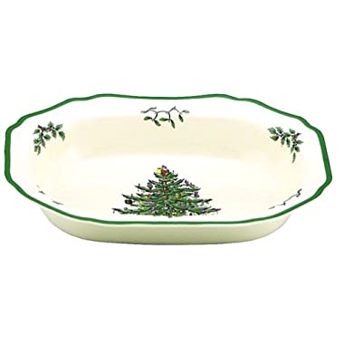 Spode Christmas Tree Open Vegetable Dish , 1 11-1/2-Inch