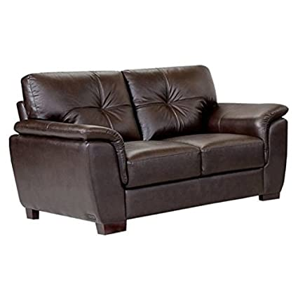 Stupendous Amazon Com Bowery Hill Leather Loveseat In Brown Kitchen Andrewgaddart Wooden Chair Designs For Living Room Andrewgaddartcom