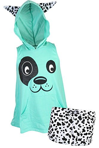 dELiAs Girl's Sleeveless Summer Pajama Short Set With Animal Character Hood, Dog, Size 10/12' for $<!--$23.99-->