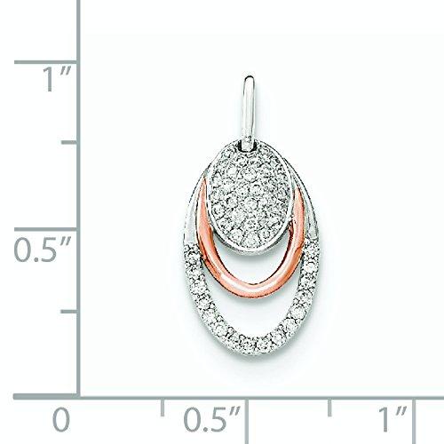 Deux-Ton or 14ct Diamant Forme Ovale Pendentif