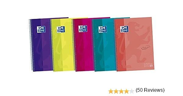 Oxford Touch - Pack de 5 cuadernos espiral de tapa extradura, A5+: Amazon.es: Oficina y papelería