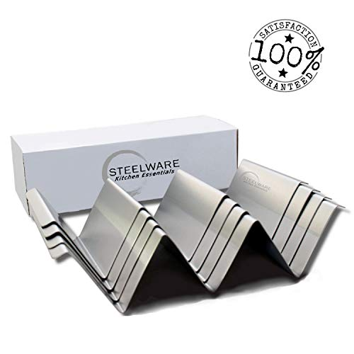 Taco Holder Stand| Stainless Steel Rack with Handles | Set of 4 |Oven, Dishwasher and Grill Safe|Exclusive Gift: Our EBook With The Best Tacos Recipes