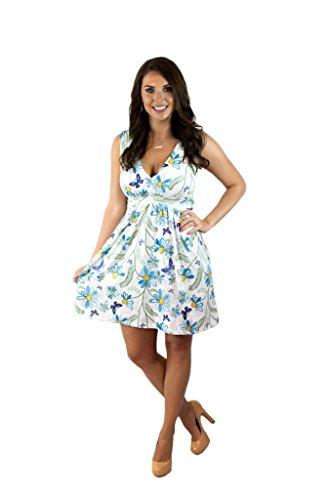 Charm Your Prince Women's Sleeveless Summer Blue Butterfly Sunflower Sundress ()