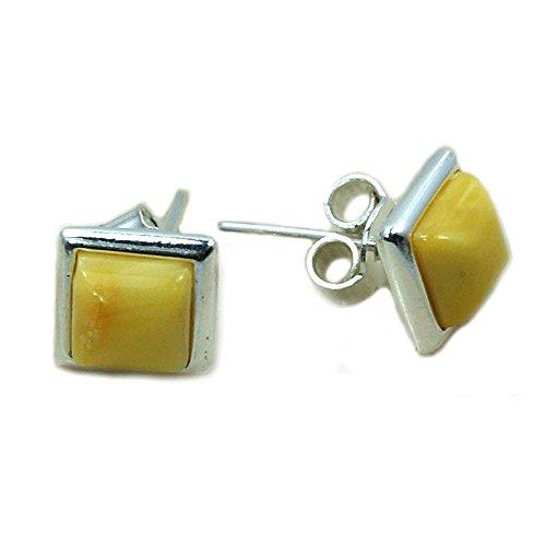 Sterling Silver Natural Butterscotch Baltic Amber Stud - Amber Butterscotch Earrings
