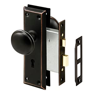 6. Prime-Line E 2495 Mortise Keyed Lock Set with Classic Bronze Knob