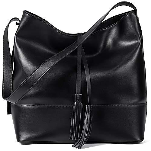 BOSTANTEN Women Leather Shoulder Bucket Handbag Tote Top-handle Purse Black