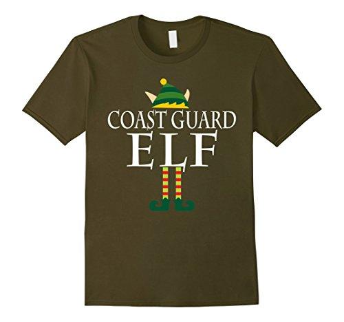 [Men's Coast Guard Elf Shirt - Funny Christmas Costume Gift Large Olive] (Coast Guard Costumes For Kids)