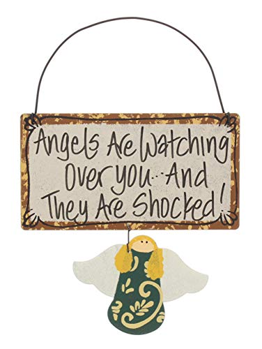 (Just Too Cute Funny Rustic Metal Welcome Sign (Angels are Watching Over)