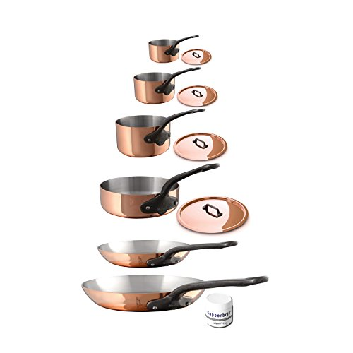 Mauviel 6530.06 M'Heritage M250C 2.5mm Copper Cookware Set, 10pc