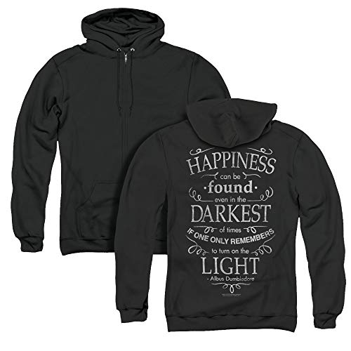 Trevco Harry Potter Happiness Unisex Adult Zipper Hoodie, Back Print, Medium Black
