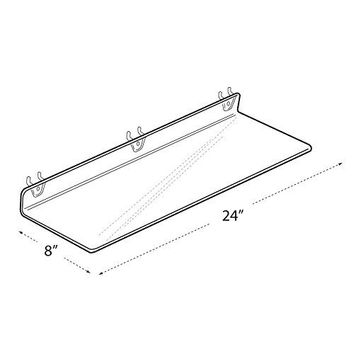 Count of 4 Clear Acrylic Shelf for PEGBOARD and SLATWALL 24'' W x 2'' H x 8'' D