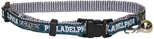 NFL CAT COLLAR. - PHILADELPHIA EAGLES CAT COLLAR. - Strong & Adjustable FOOTBALL Cat Collars with Metal Jingle Bell ()