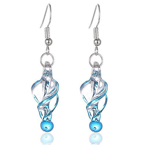 Murano Dangle (Bleek2Sheek Murano Inspired Glass Twirl Hypoallergenic Earrings with stainless steel French ear hooks (Blue))