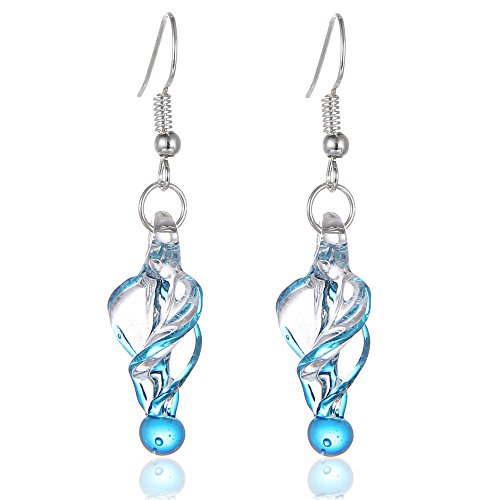 Bleek2Sheek Murano Inspired Glass Twirl Hypoallergenic Earrings with stainless steel French ear hooks (Blue)