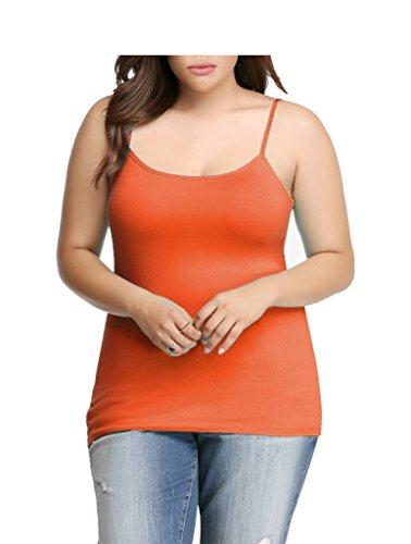 Womens Plus Size Seamless Cami Tank Top Orange 3X-4X