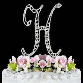 Swarovski Crystal Monogram Cake Topper Vintage Style Letter H