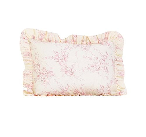 Cotton Tale Designs 100% Cotton Pink, White Soft Floral & Ribbon Heaven Sent Girl Standard Ruffled Pillow Sham - Girl - Pillow Cover (Tale Designs Cotton Ribbon)