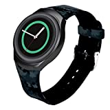 GBSELL Luxury Black Camouflage TPU Silicone Watch Band Strap For Samsung Galaxy Gear S2 SM-R720