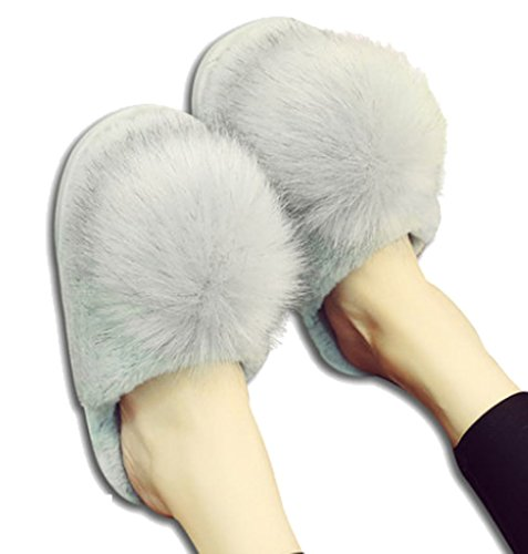 Cwait Womens Pompoms Plush Warm Slippers Indoor House Home Slippers