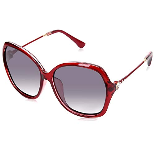 (Classic Oversized Womens Sunglasses, HD Polarized UV400 Protection, Fashion Butterfly Frame Retro Eyewear for Outdoor (Red Frame (Glossy Finish) / Grey High Definition Polarized Lenses) )