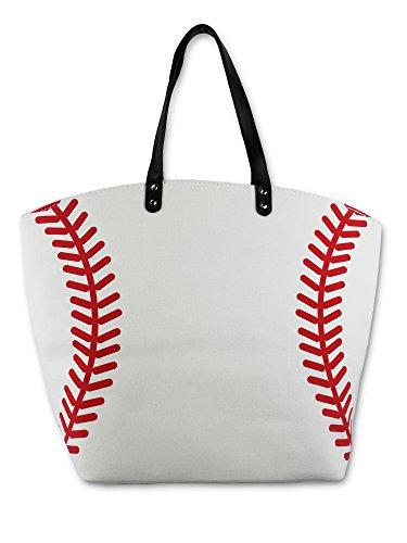 Knitpopshop Baseball Canvas Tote Bag Handbag Large Oversized Mom