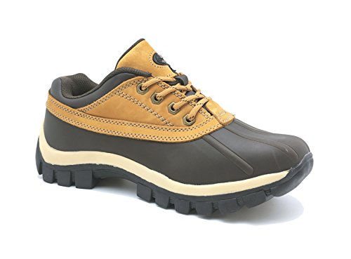 LM Men Waterproof Rubber Sole Winter Snow Boots Work Boots 7014 (7.5, Wheat) (Boots Rubber Sole)
