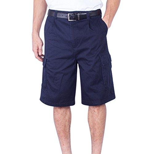 Mens Cargo Shorts Big And Tall Long Loose Fit Solid Cotton Chino Short (Navy,36)