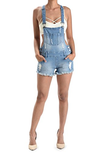 G-Style USA Women's Ripped Cut-Off Short Overalls RJSO608 - LIGHT BLUE - 3X-Large - ()