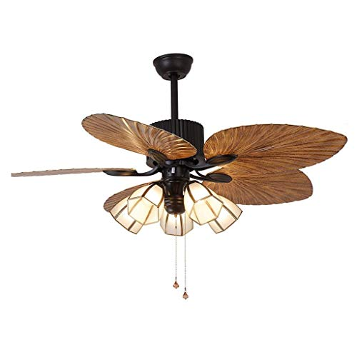- Wsxxn 52 Inch Southeast Asian Fan Light European Pendant Ceiling Fan Light for Dining Room Bedroom Living Room, Chinese Retro 3 Light Pure Copper Lampshade Fan Ceiling Light (Color : Rope Switch)