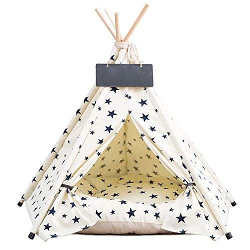 Beige L Beige L MUMUCW Pet Teepee, Removable and Washable Dog Bed Pet Play House for Dog Cat Pet with Cushion- Gypsophila (color   Beige, Size   L)