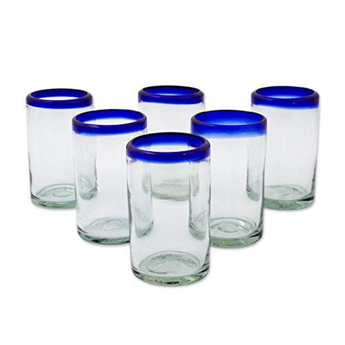 amazoncom novica artisan crafted hand blown clear blue rim recycled glass juice glasses 8 oz set of 6 tumblers mixed drinkware sets
