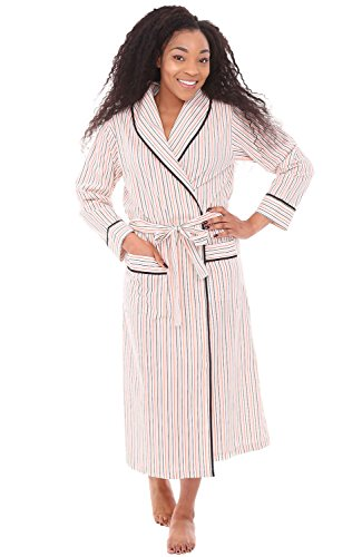 Alexander Del Rossa Women's Lightweight Cotton Kimono Robe, Summer Bathrobe, Medium Orange and Gray Striped (A0515V67MD)