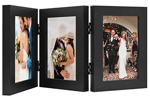 Golden State Art, Triple Hinged Table Desk Top Picture Photo Frame for 4x6 Photo, 3 Vertical Openings, with Real Glass (Black, 4x6 Triple Hinged Frame)