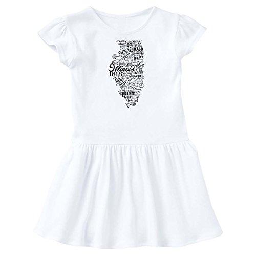 inktastic Illinois Word Salad- State Outline Toddler Dress 2T White - Airports Chicago Illinois