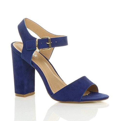 Heel Blue Sandals High Ajvani Cobalt Women Suede Size Block ftFxZq