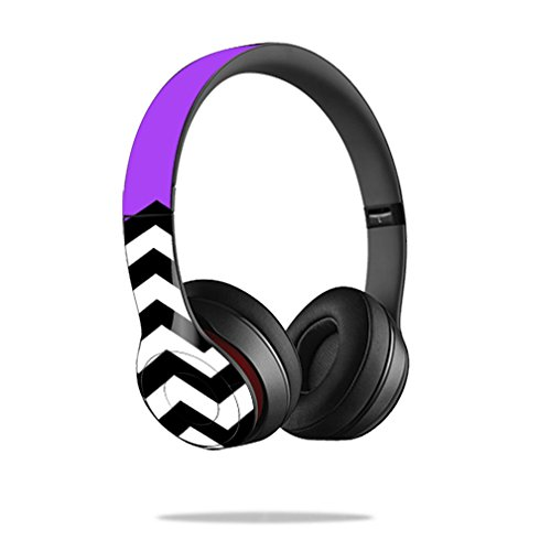 Mightyskins Protective Vinyl Skin Decal Cover for Dr. Dre Beats Solo2 Headphones wrap sticker skins Purple Chevron