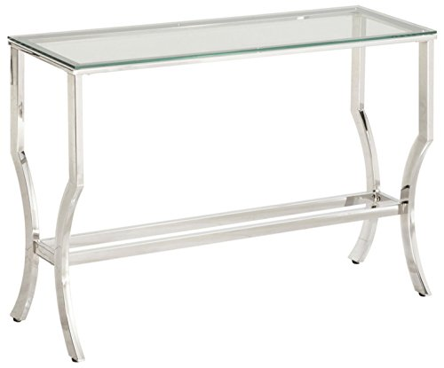 Beau Coaster 720339 CO Glass Top Console Table, Chrome