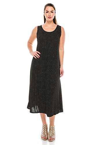 Jostar Women's Stretchy Tank Long Dress Sleeveless Plus Print 2XL Black Dots