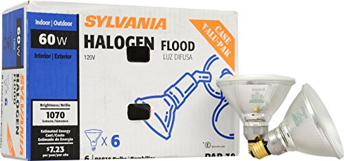 Medium Base Flood Halogen Lamp (SYLVANIA Capsylite Short Neck Halogen Bulb Dimmable / PAR38 Reflector Narrow Flood Light / Replacement for halogen lamps 75W / Medium base E26 / 60 Watt / 2900K – warm white, 6 Pack)