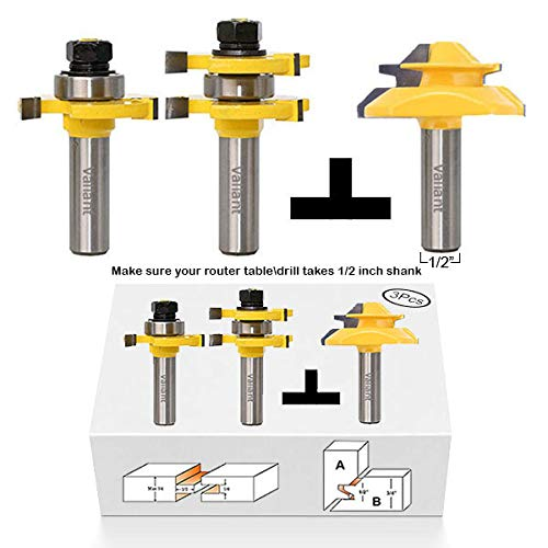 - Valiant Tongue and Groove Router Bit Tool Set ½'' Shank With 45° Lock Miter Bit ½'' Shank - Solid Steel, Anti Kickback Design, Easy Operation - For Doors, Tables, Shelves, Walls, DIY Woodwork & More