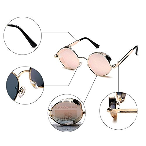Round Metal Lens Steampunk Protective Sunglasses Glasses Driving Retro Frame TEMPO Pink Men Woman Polarized Gold UV Frame x4EaPnETw