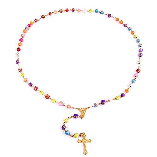 Carved Rose Flower Pendant - MOCAL Jesus Cross Carved Necklace Rose Flowers Plastic Bead Virgin Mary Pendant Jewelry for Women and Men (Multicolor)