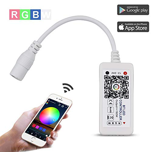 Bluetooth 4.0 RGBW Controller for LED Light Strips, Android and iOS Free App Smart LED Strip Light Controller