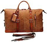 Iblue Leather Duffel Bag Travel Overnight Weekend Bag Large MA (brown)