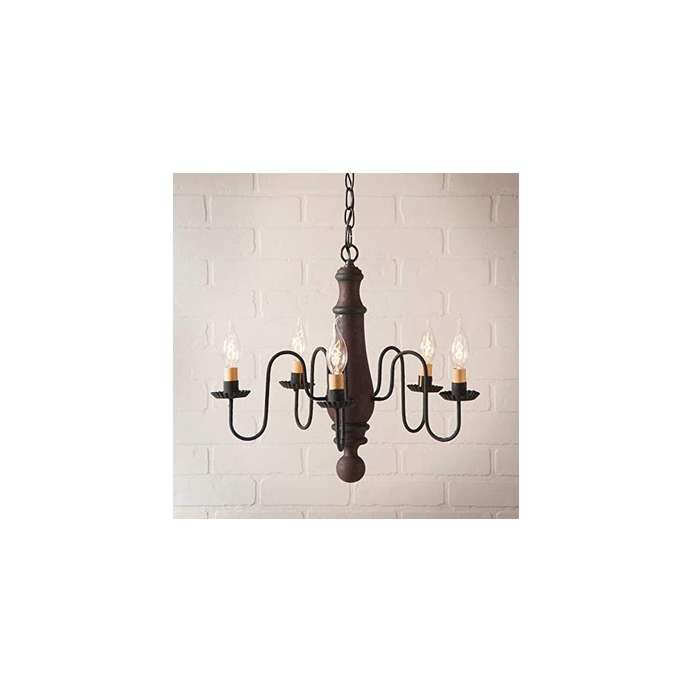 Irvin's Country Tinware 9150H21 - Medium Norfolk Chandelier in Red Over Black with Black Stripe Color