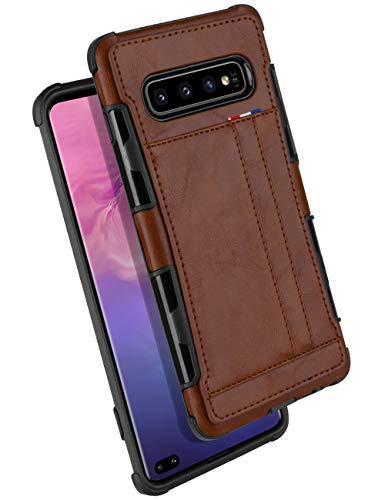 Galaxy S10 Plus Wallet Case, GOOSPERY Protective PU Leather Bumper Cover with Card Holder for Samsung Galaxy S10 Plus (Brown) S10P-LEA-BRN