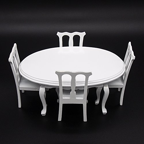 Odoria 1:12 Miniature White Dinging Table and 4 Chairs 5PCS Kitchen Set Dollhouse Furniture Accessories