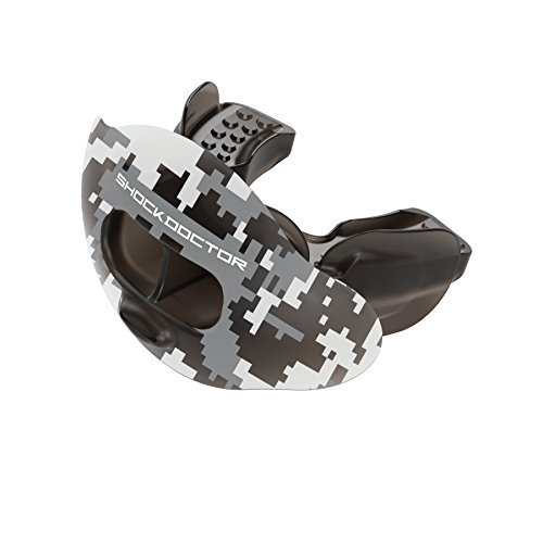 Shock Doctor 3300 Max Airflow Lip Guard Mouthguard With Tether, Trans Black Camouflage, Youth